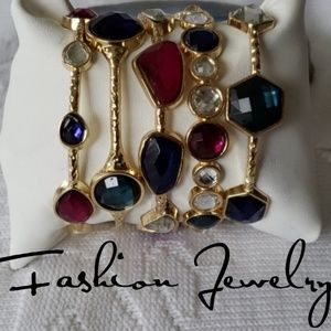 Jewelry - Gold Tone Bangle/Bracelets Multi colored Crystals